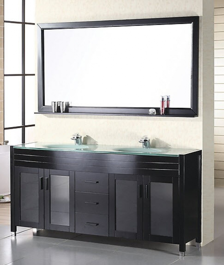 Home 60 Inch Modern Double Sink Bathroom Vanity In Espresso Loading Zoom