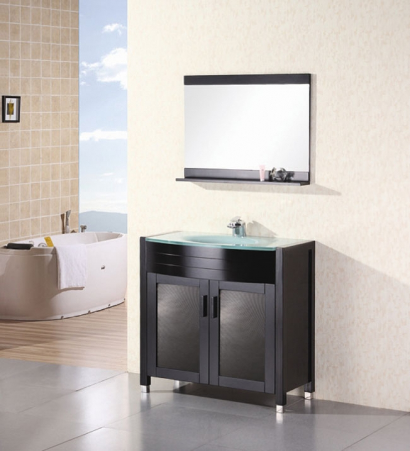 Modern Single Sink Vanity : 36 Inch Modern Single Sink Bathroom Vanity with Tempered Glass Counter ...