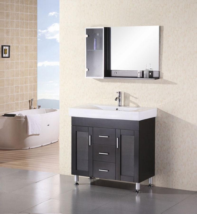 36 Inch Modern Single Sink Bathroom Vanity With White