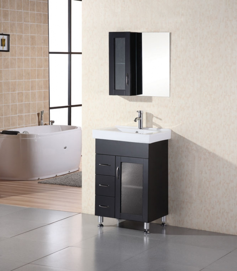 24 inch modern single sink bathroom vanity with ceramic for Bathroom 24 inch vanity