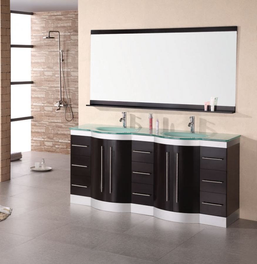 72 Inch Modern Double Sink Bathroom Vanity With Mirror And Faucets Uvde023gtp72