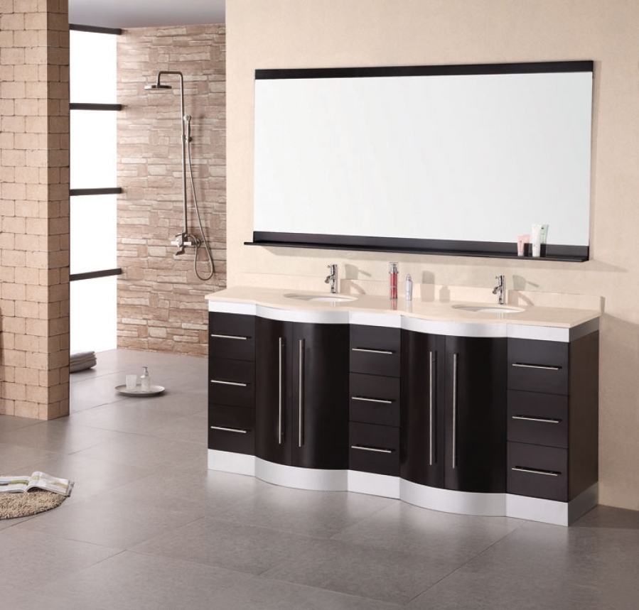 72 inch modern double sink bathroom vanity withtravertine countertop
