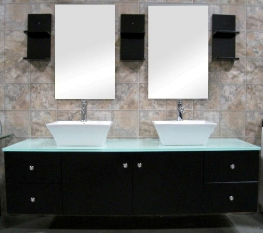 61 inch modern double ceramic vessel sink bathroom vanity. Black Bedroom Furniture Sets. Home Design Ideas