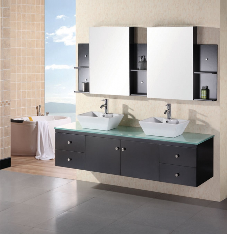 72 Inch Modern Double Vessel Sink Bathroom Vanity With Tempered Glass  Counter Top