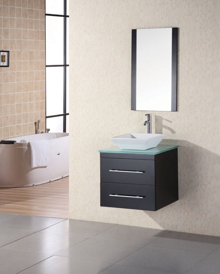 24 Inch Modern Single Sink Bathroom Vanity With Tempered Glass