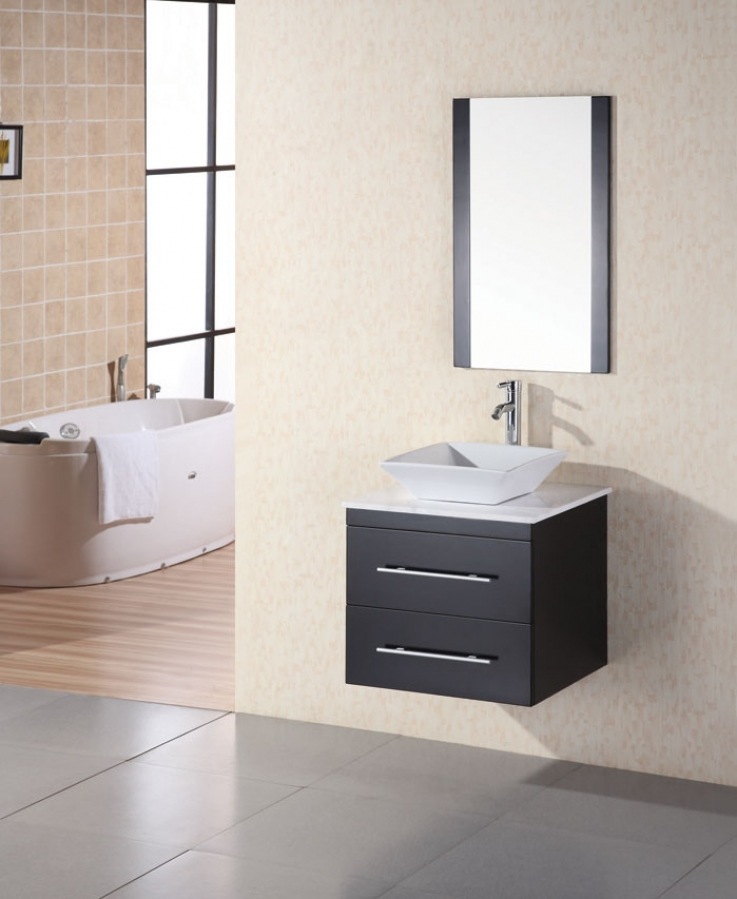24 Inch Modern Single Sink Bathroom Vanity In Espresso UVDE071CWTP24