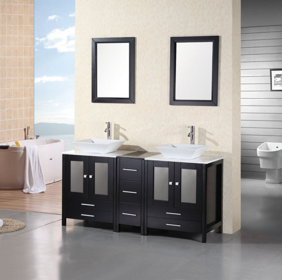 61 Inch Modern Double Sink Bathroom Vanity With White