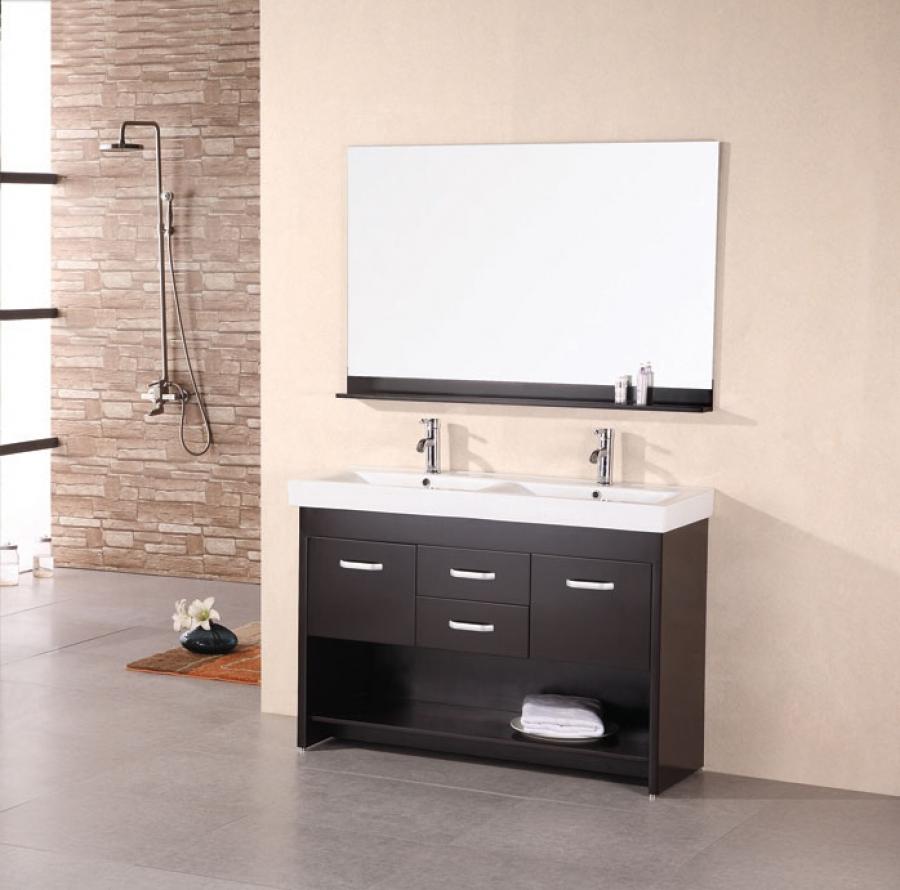 48 inch modern double sink bathroom vanity in espresso - Double sinks in a small bathroom ...