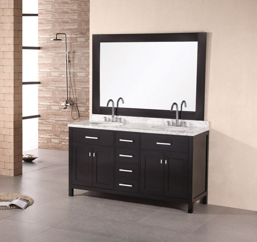 61 Inch Modern Double Sink Bathroom Vanity with Four Doors and Four Drawers UVDE076A61