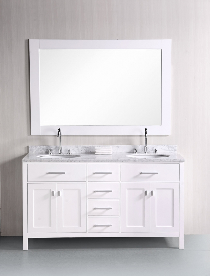 61 Inch Double Sink Vanity With Pearl White Finish