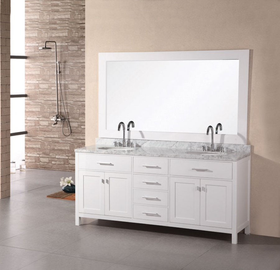 72 inch modern double sink bathroom vanity in pearl white for Bathroom double vanity designs