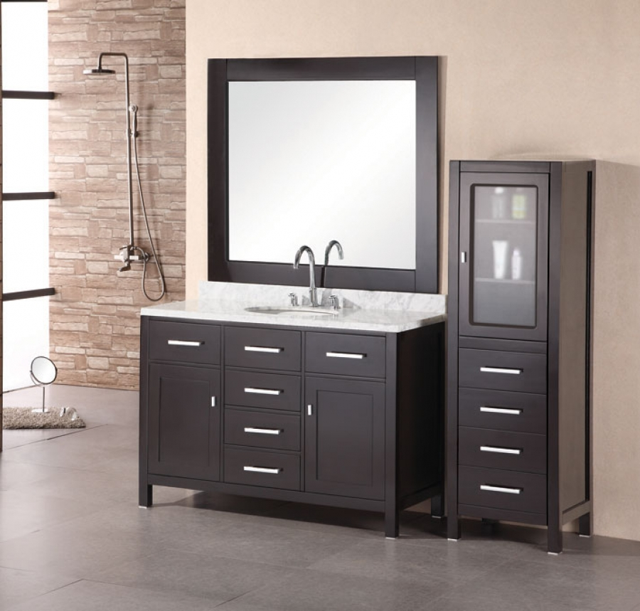 Modern Single Sink Vanity : 48 Inch Modern Single Sink Bathroom Vanity with White Carrera Marble ...