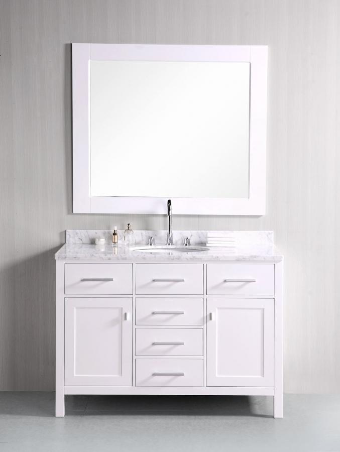 48 Bathroom Vanity With Top: 48 Inch Single Sink Bathroom Vanity In Pearl White