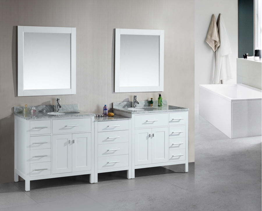 Bathroom double sink cabinets Grey 92 Inch Double Sink Bathroom Vanity With Extra Storage Room Unique Vanities 92 Inch Double Sink Bathroom Vanity With Extra Storage Room