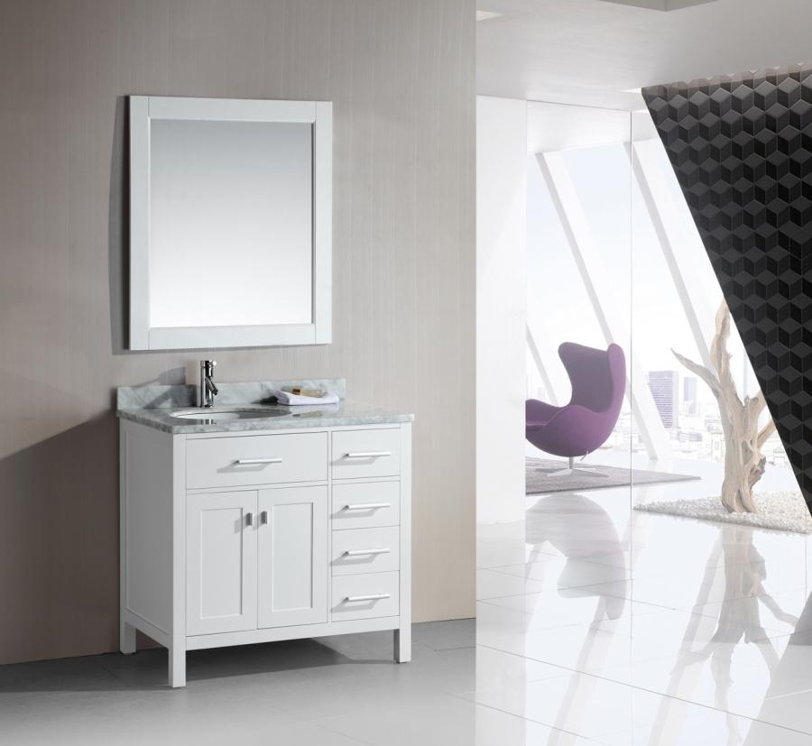 36 Inch Single Sink Bathroom Vanity With A Flip Down Shelf