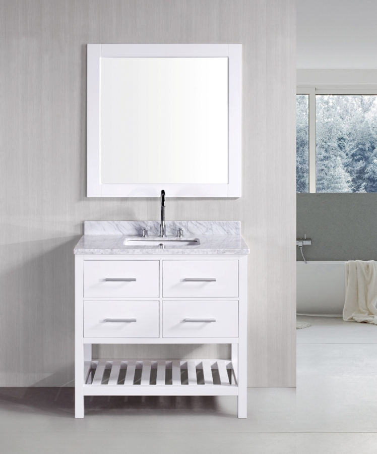 36.5 Inch Single Sink Bathroom Vanity In Pure White With Carerra Marble Top  UVDEDEC077AW37