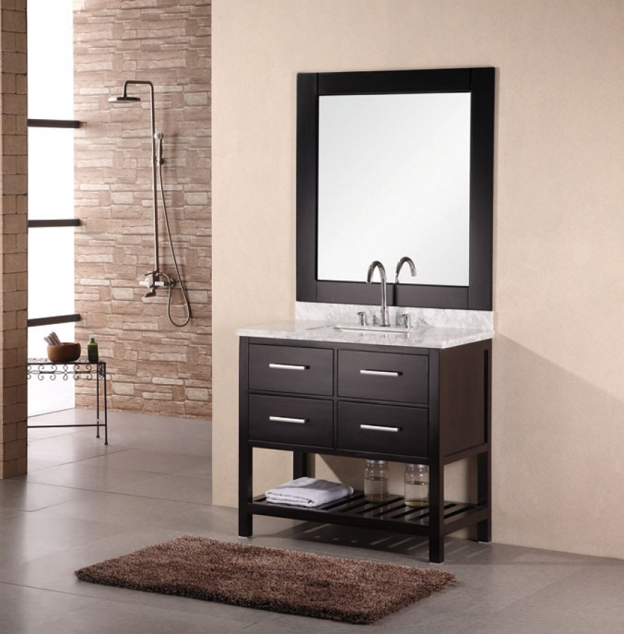 36 inch modern single sink bathroom vanity with carrera - 66 inch bathroom vanity single sink ...