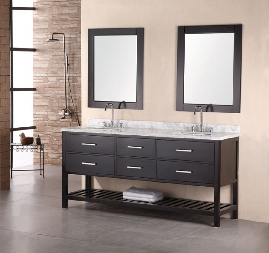 72 Inch Modern White Marble Double Sink Bathroom Vanity In Espresso UVDE077B72