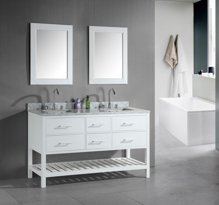 61 Inch Double Sink Bathroom Vanity In White Uvdedec077cw60