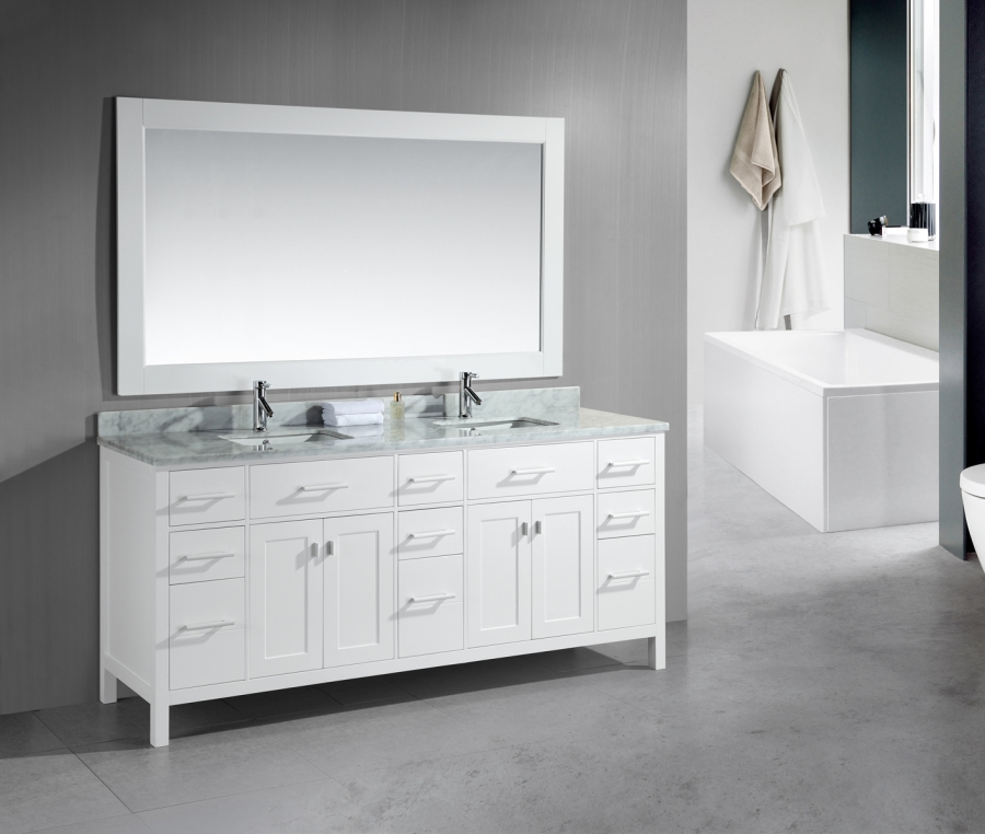 white vanity double sink. Loading zoom 78 Inch Double Sink Bathroom Vanity with Lots of Drawers UVDEDEC088W78