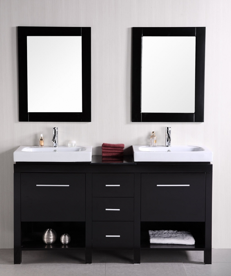60 inch double sink bathroom vanity with open shelves - Double sinks in a small bathroom ...