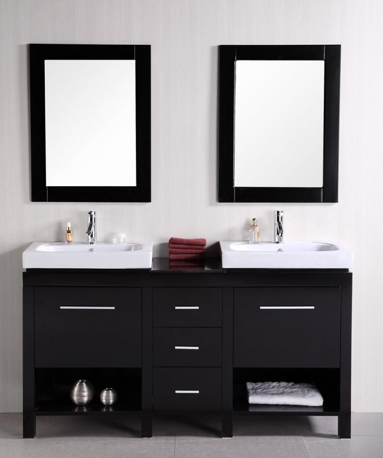 60 Inch Double Sink Bathroom Vanity With Flip Down Shelves