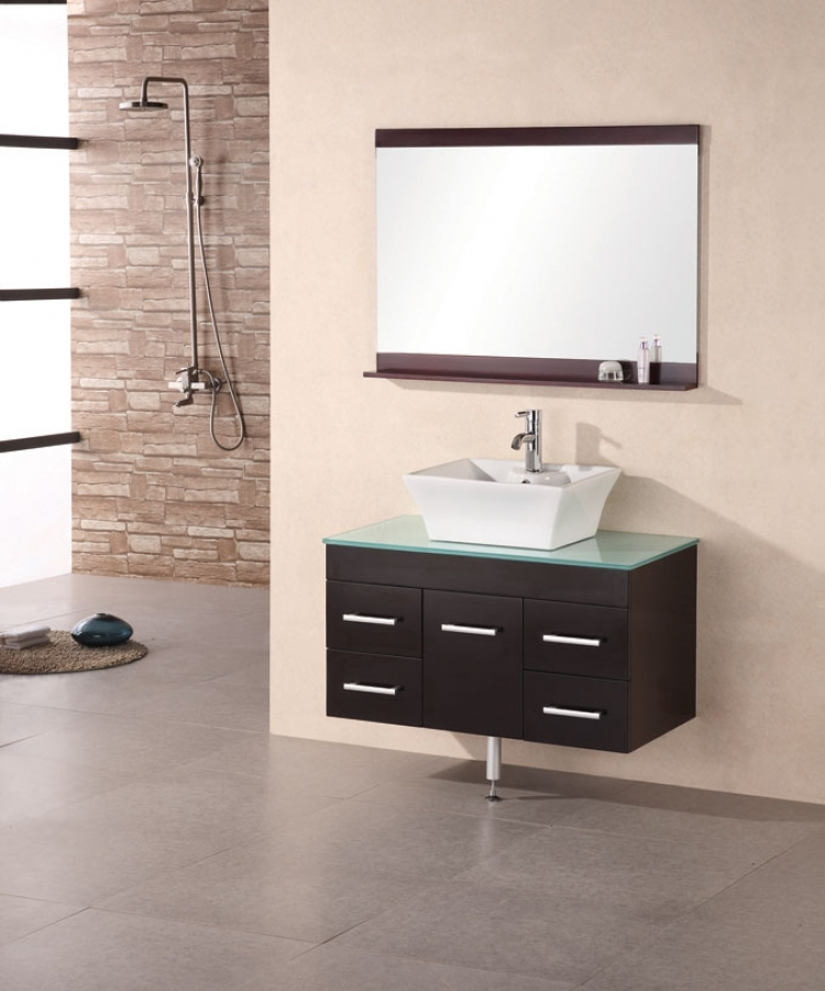 36 inch modern single vessel sink bathroom vanity with glass counter 36 Bathroom Vanity
