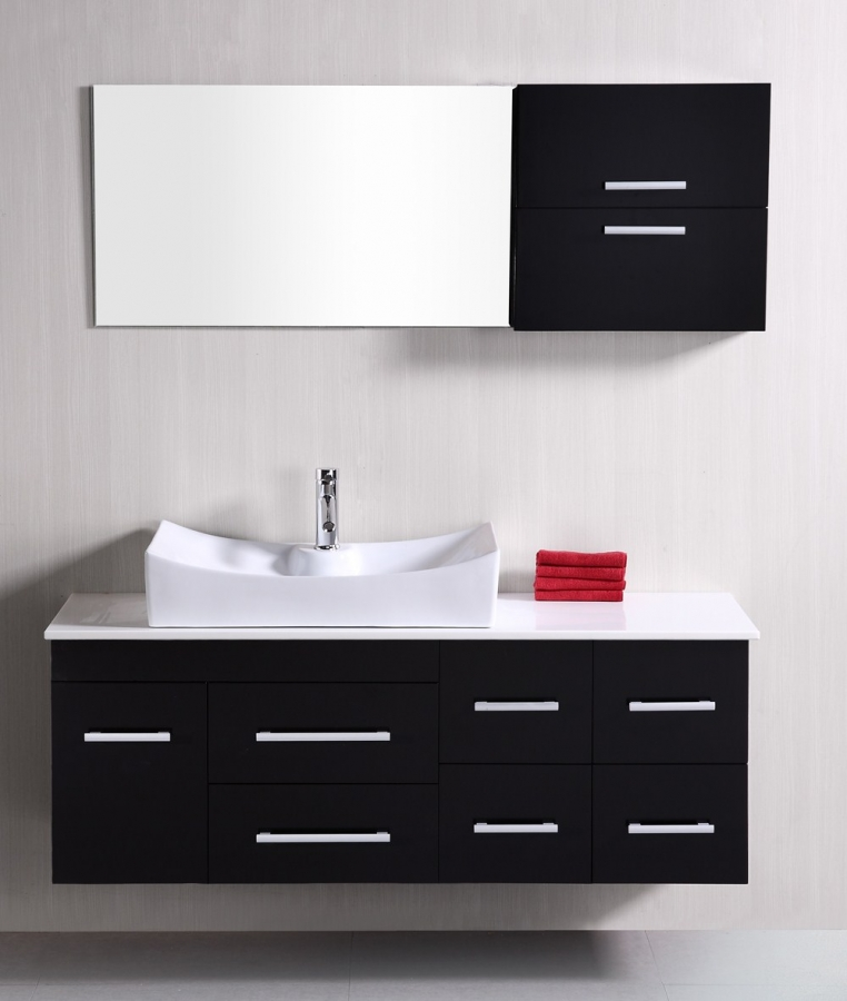 Plain Modern Single Sink Bathroom Vanities 53 Inch Throughout Design Inspiration