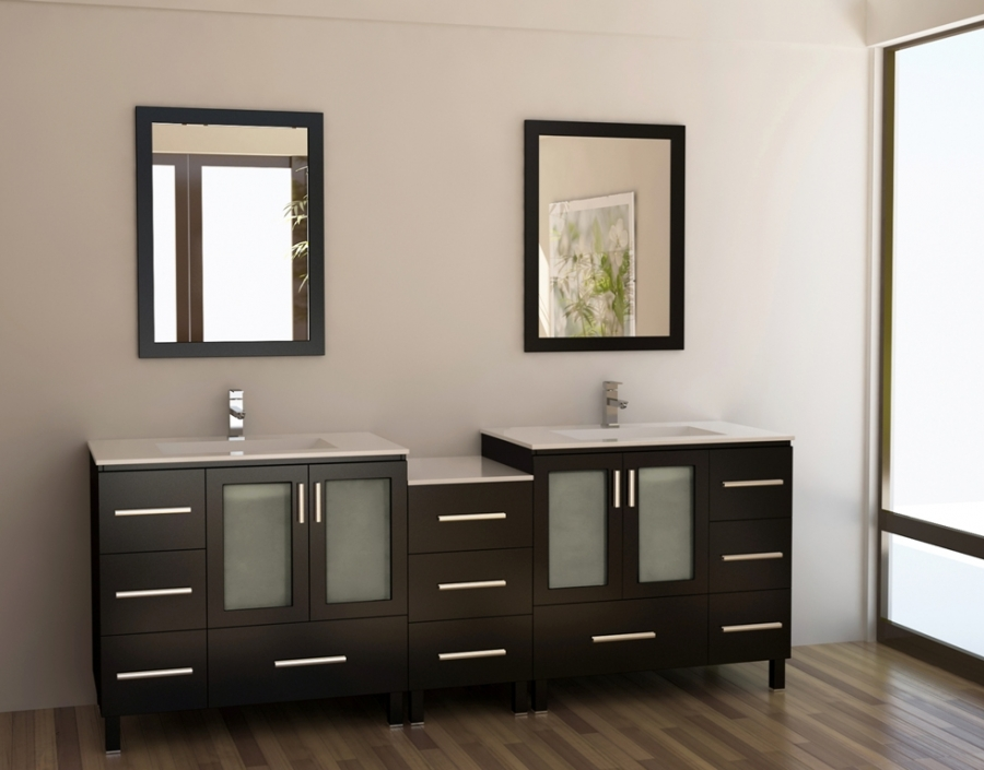88 Inch Modern Double Sink Bathroom Vanity With Mirrors
