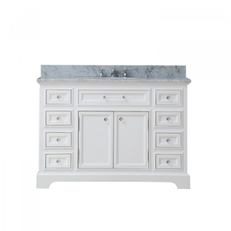 Http Www Uniquevanities Com 48 Inch Single Sink Bathroom Vanity With Carerra White Marble Uvwcderby48w Html