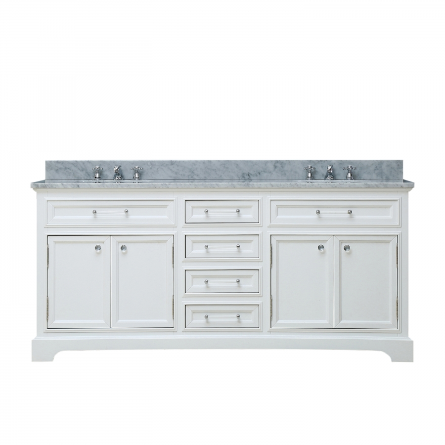 72 inch double sink bathroom vanity in pure white uvwcderby72w for Bathroom 72 inch vanity