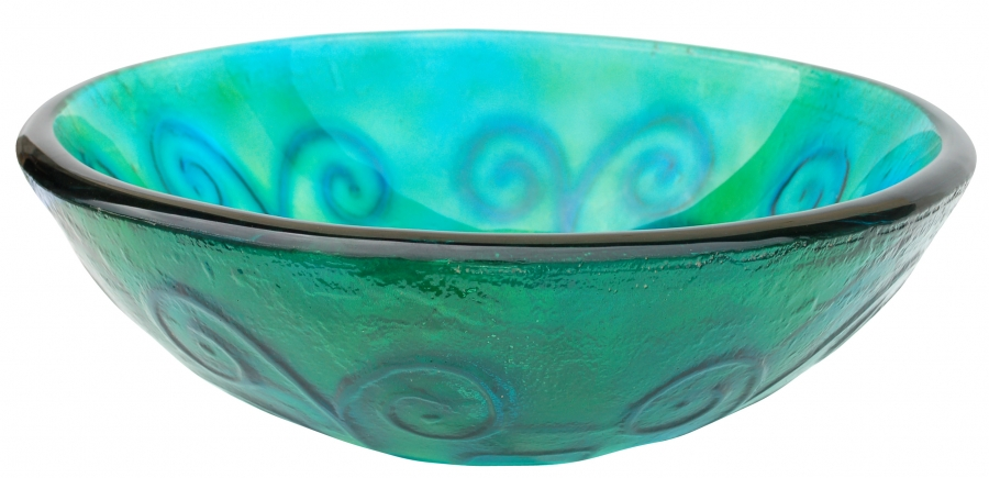 Green and blue swirls glass vessel sink uvebgs16 - Green glass vessel bathroom sinks ...