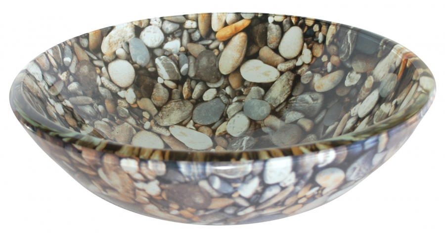 Natural Pebble Pattern Glass Vessel Sink Uvebgs24
