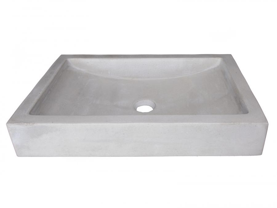 22 Inch Shallow Wave Light Gray Concrete Rectangular Vessel Sink UVEBN008LG