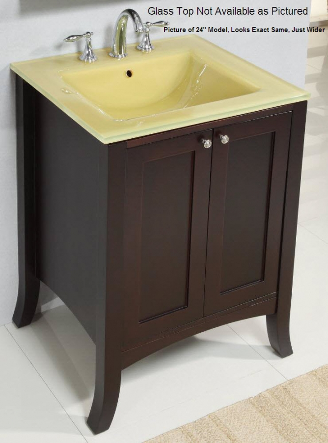 30 Inch Brown Bathroom Vanity Set With White Carrera: 30 Inch Single Sink Modern Bathroom Vanity With Dark Brown