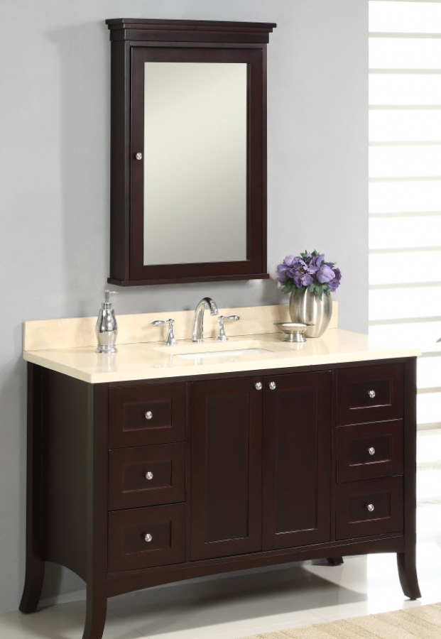 48 Inch Single Sink Modern Bathroom Vanity With Dark Brown