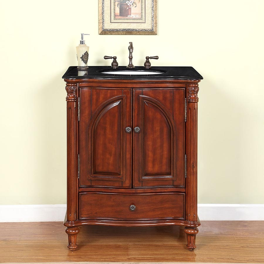 30 Inch Traditional Single Bathroom Vanity With A Black Galaxy Granite Counter Top Uvsr0266bg30