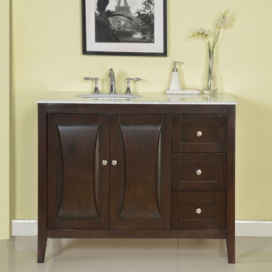 45 Inch Modern Single Bathroom Vanity with White Marble