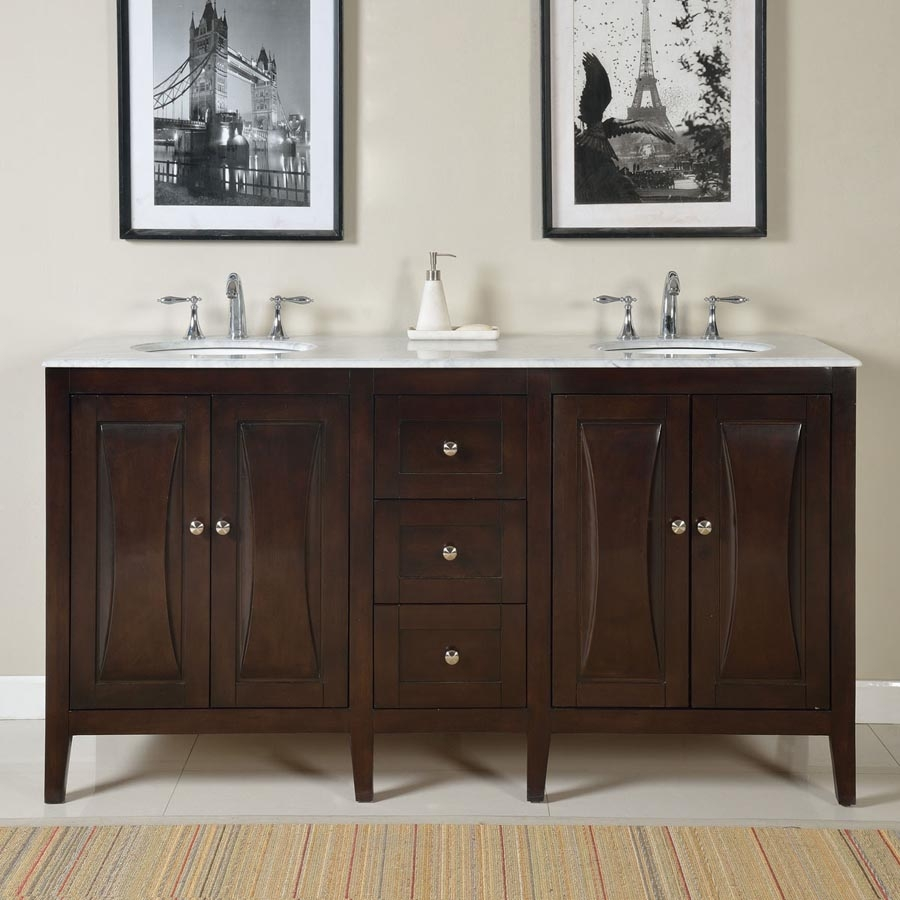 68 Inch Modern Double Bathroom Vanity With A Carrara White