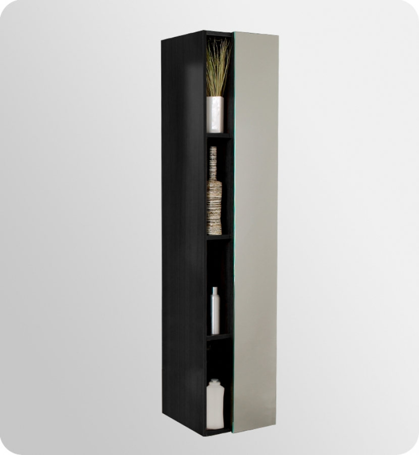 black bathroom linen cabinet with cubby holes uvfst8070bw