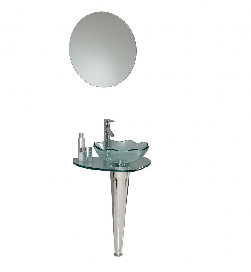 23.75 Inch Modern Glass Bathroom Vanity With Wavy Edge Vessel Sink
