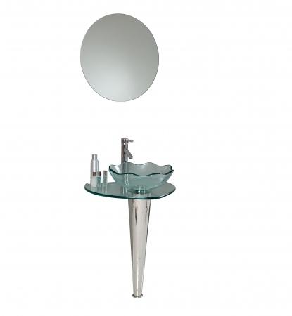 Wavy Glass Vanity Light : 23.75 Inch Modern Glass Bathroom Vanity with Wavy Edge Vessel Sink UVFVN103623