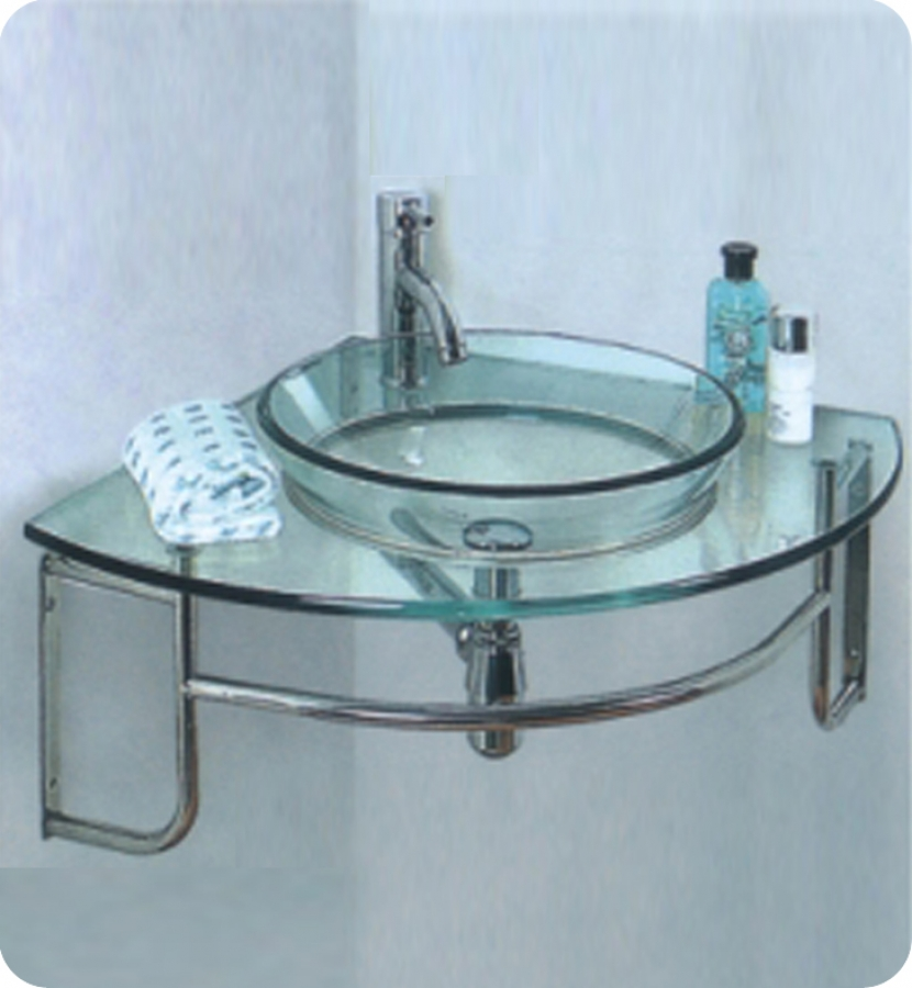 24 Inch Single Sink Corner Mount Glass Bathroom Vanity