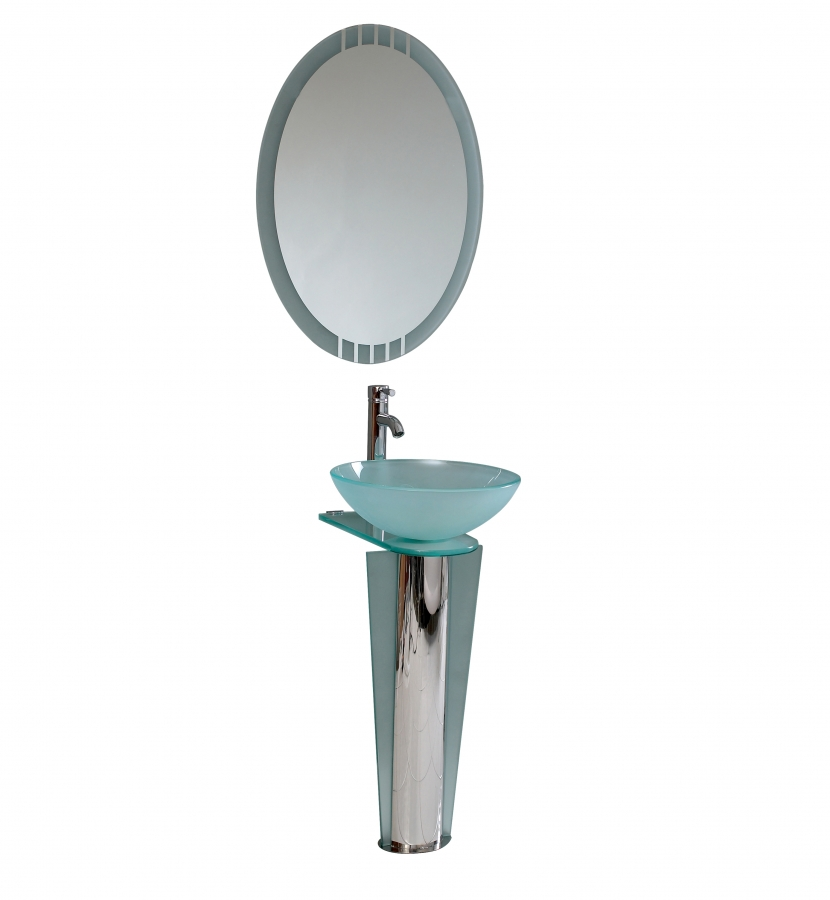 16.5 Inch Modern Glass Bathroom Vanity with Mirror