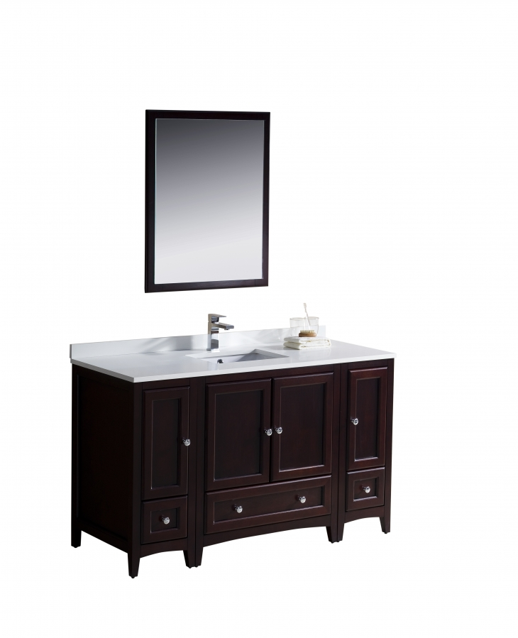 54 Inch Single Sink Bathroom Vanity In Mahogany