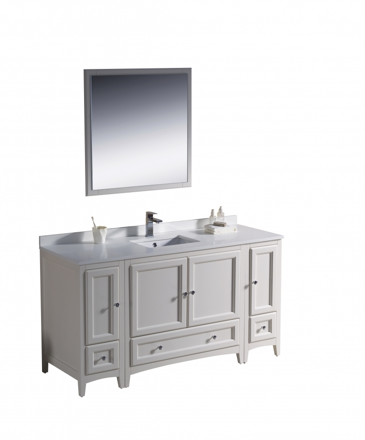 60 Inch Single Sink Bathroom Vanity In Antique White