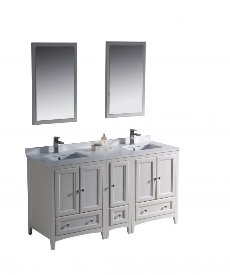 60 Inch Double Sink Bathroom Vanity In Antique White UVFVN20241224AW60