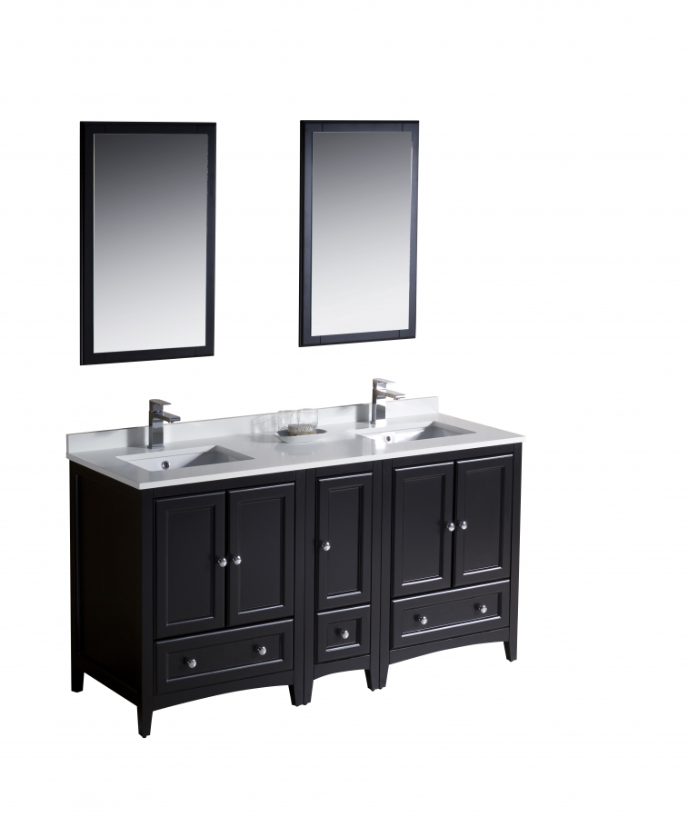 60 Inch Double Sink Bathroom Vanity In Espresso