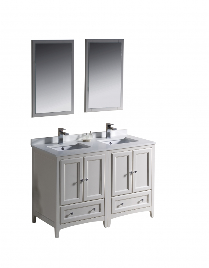 48 inch double sink bathroom vanity in antique white for Bathroom 48 inch vanity