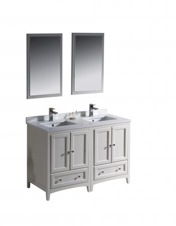 48 inch small double sink bathroom vanity in antique white - Antique white double sink bathroom vanities ...